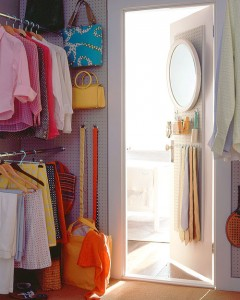 If your closet is big enough, install a peg board onto the wall to organize your accessories. Found on Martha Stewart.