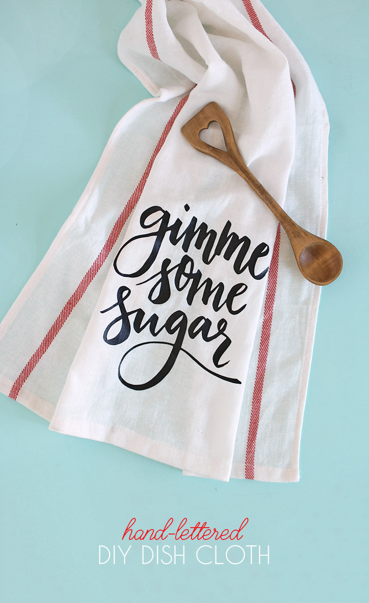This Gimme Some Sugar towel is so cute and would be fun to give to your significant other with some nice cookware! A free file to make this at home is on Persia Lou.