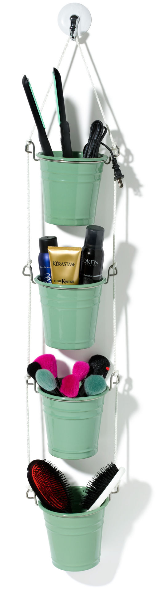 I love this easy accessories organizer made from some IKEA caddies, from Glamour.