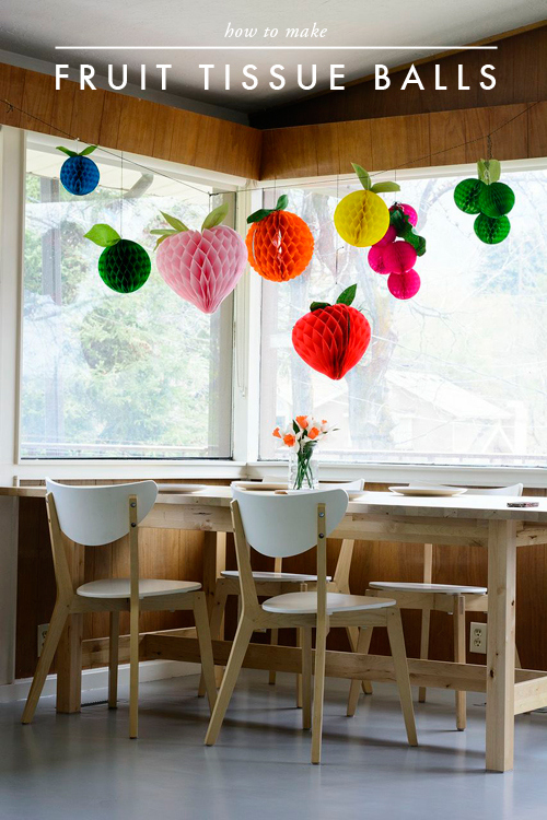 Decorate with these fruity tissue honeycomb balls, from The House that Lars Built.