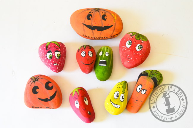 Gather some rocks and grab some paint to make these very cute garden markers. Get your kids involved to make them. Found on Adventures in a Box.