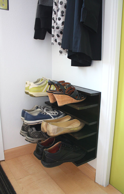 This simple shoe rack DIY is perfect for any small space entry, from Not Martha.