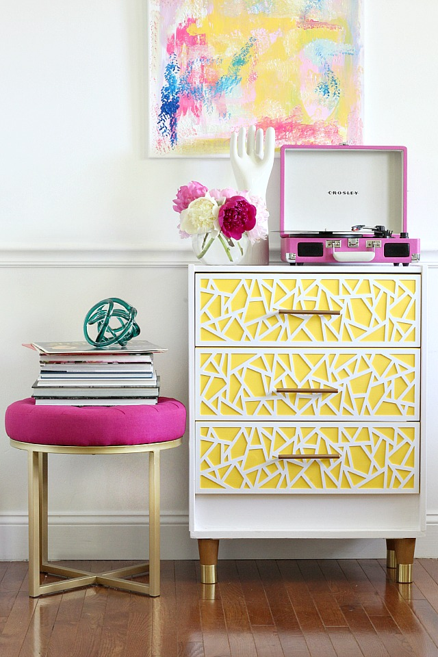 A plain IKEA dresser can be turned into a fancy little dresser that will brighten up any room! Found on Bliss at Home.