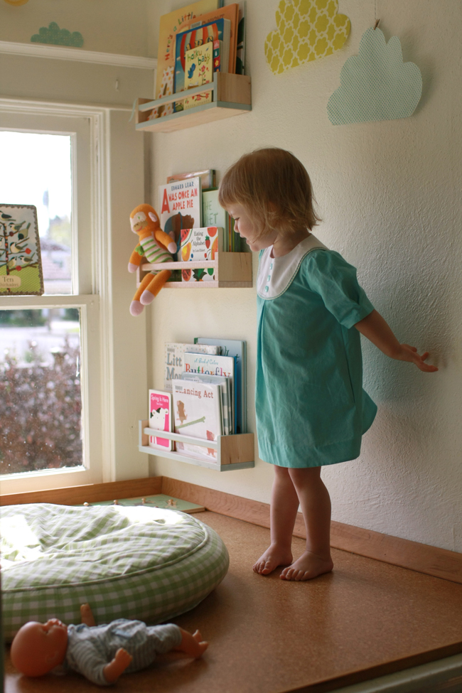 Using IKEA spice racks to hold kids books on the wall is a great idea! Found on Probably Actually.