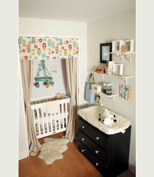 If your closet isn't long enough for a full size crib, buy a mini crib for your small closet, from Lovely Morning.