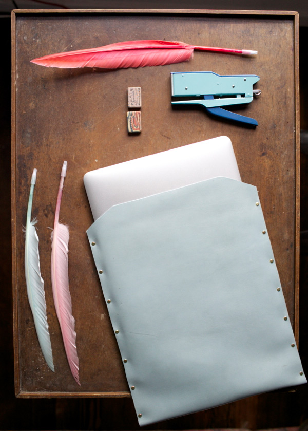A gift for your tech friend: Leather Laptop Cover DIY, on Oh Happy Day.
