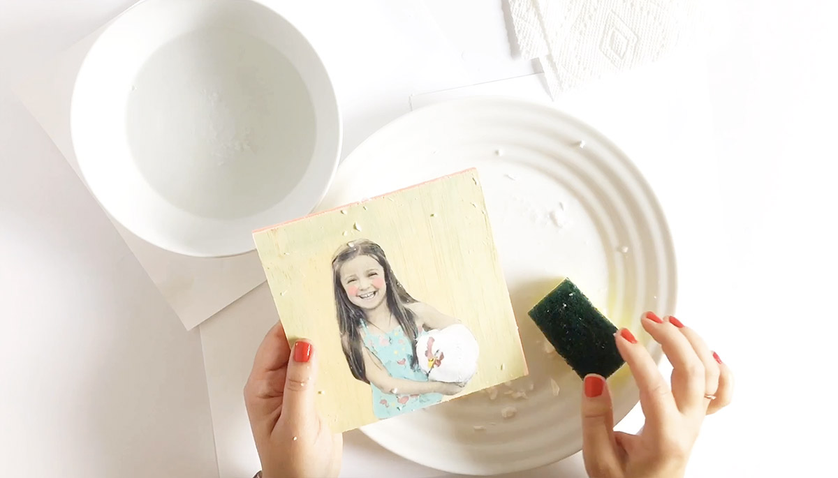 Colorfully Painted Wood Block Photo Transfer DIY