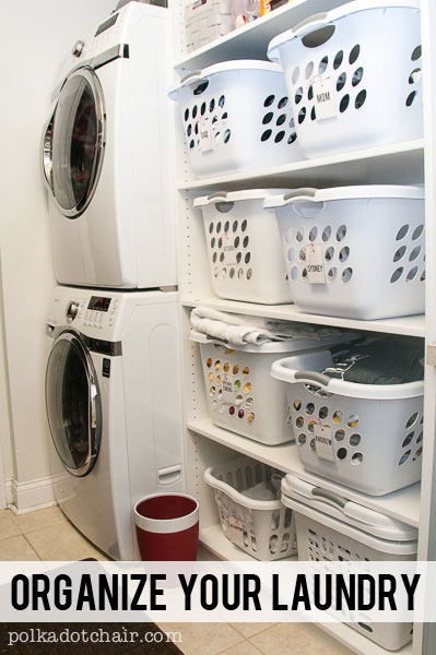 This laundry organization idea is amazing, from Polka Dot Chair.