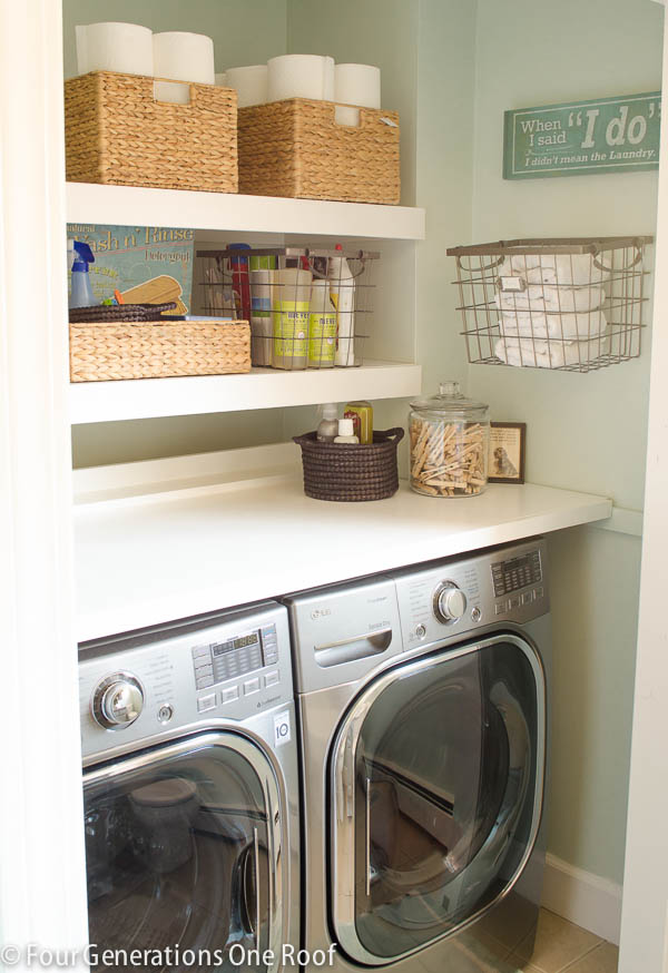 Be sure to use all the space in your laundry room. Shelves above for organizing and a top over the washer and dryer so you can fold clothes. Found on Four Generations One Roof.