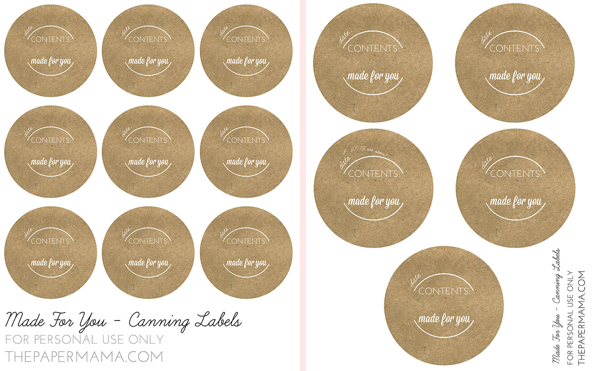 Made for You brown paper canning labels.