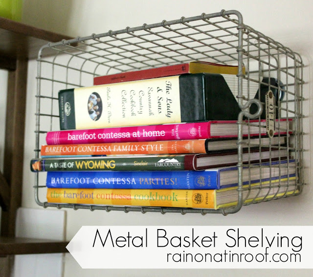 Transform some old metal locker baskets into wall shelves, on Rain on a Tin Roof