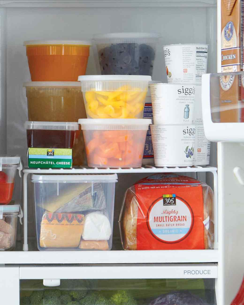Place a shelf riser in your refrigerator to add more space to place food, from Martha Stewart.