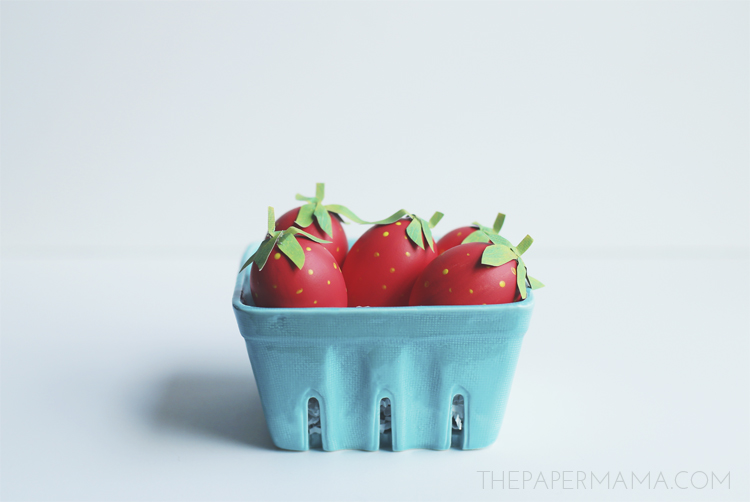 Painted Strawberry Eggs are so fun to make, from The Paper Mama.
