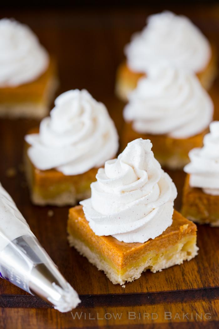 OMG. Pumpkin Pie Shortbread Bars, from Willow Bird Baking.