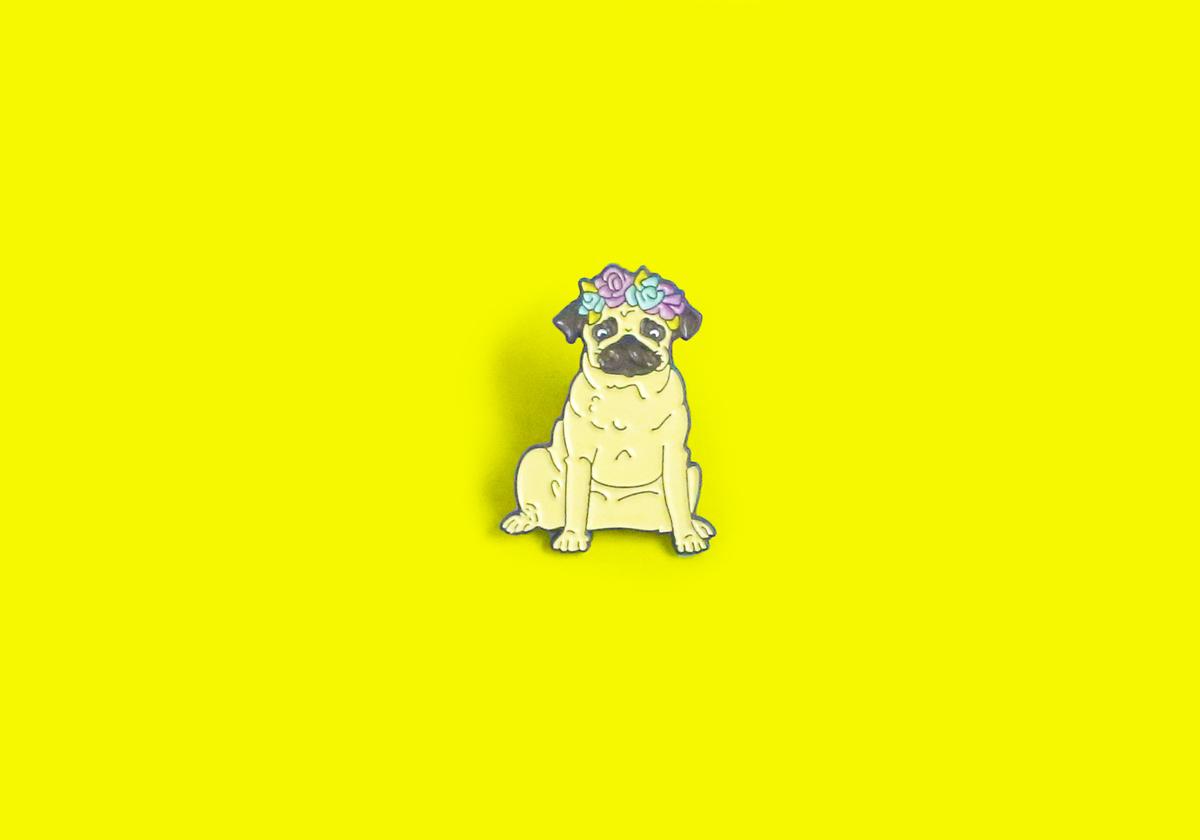 Pug Dog Enamel Lapel Pin - Button