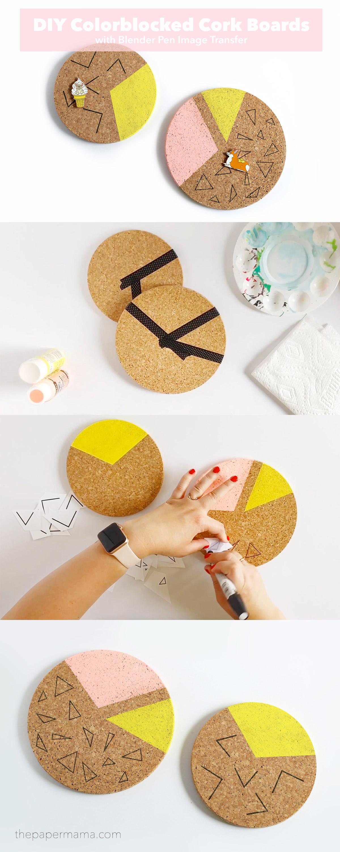 DIY Colorblocked Cork Boards