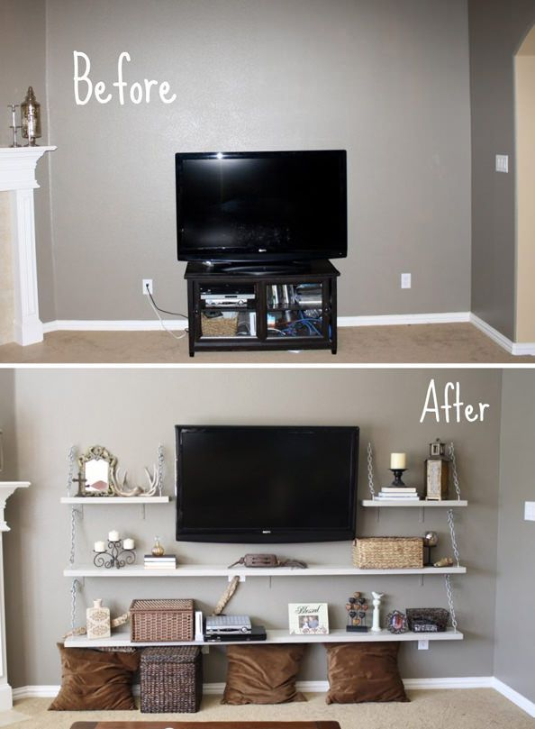 Skip the boring (and not so pretty) television stand and install shelving around a wall mounted television. Found on Decorola.