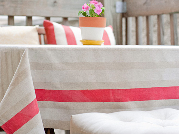 Turn a drop cloth into an outdoor tablecloth, from Yellow Brick Home.