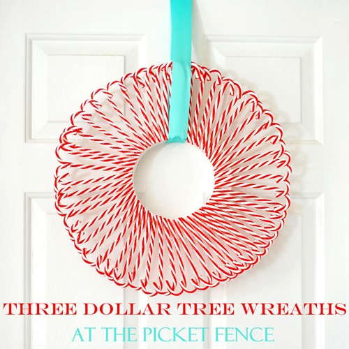 Are you on a tight budget for holiday decorating? This Candy Cane Wreath cost $3 to create, on At The Picket Fence.