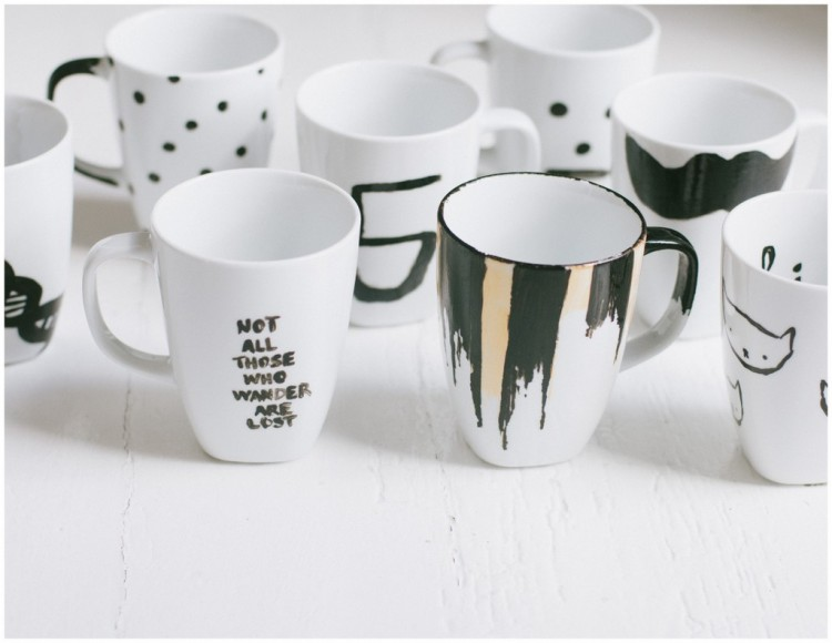 Check out this variety of mugs from a craft party night. via Flying House.