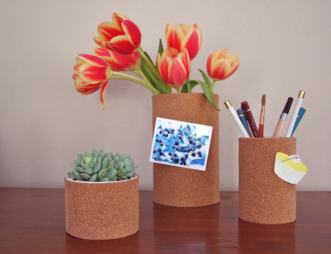 Craft these cork board pencil holders to organize your desk, on Paper n Stitch.