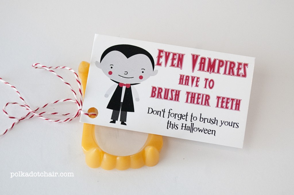Don't want to hand out candy this year? How about this cute vampire teeth goodie, from Polka Dot Chair.