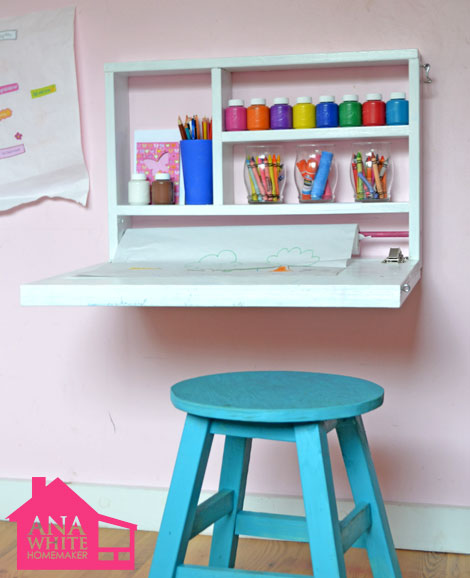 Now that my daughter is headed into first grade, we are going to need some sort of study space for her in her tiny room. This fold down wall desk is perfect! She can just fold it away when she's done. Found on Ana White (comes with free building plans).