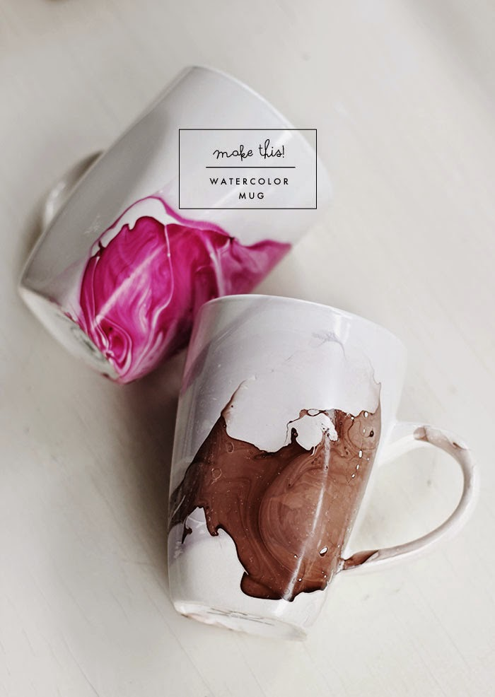 These water color coffee mugs are magical, via Poppytalk.