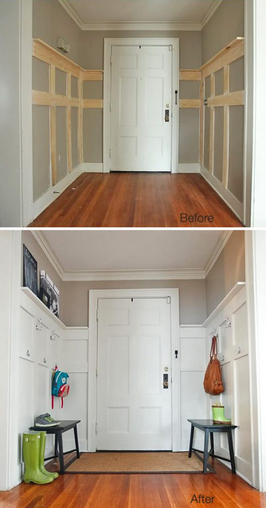 Makeover your front entry with some benches and wall hooks to create more storage and it looks great! This DIY was made for $85. Not bad. Found on The Natos.