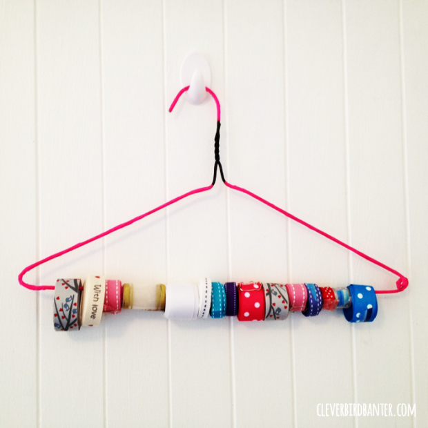 You will always have easy access to your ribbon by making this and hanging it in your craft room, from Clever Bird Banter.
