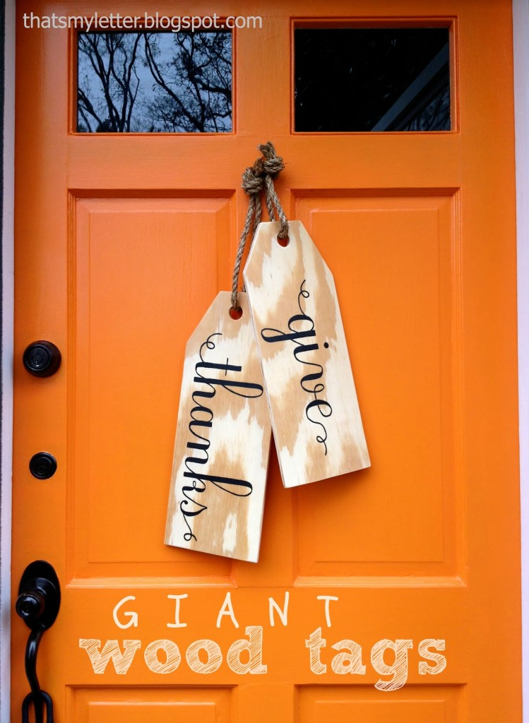 You don't need to go ALL out to get your front door ready for the Fall, just make it simple with these Give Thanks door tags. This DIY was found on That's My Letter.